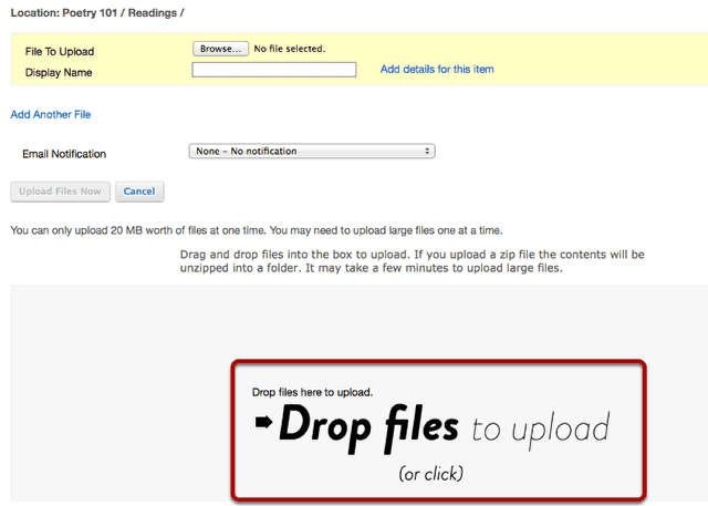 Drag and drop the zip file from your computer.